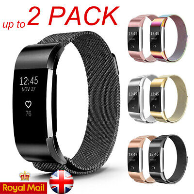 2x For Fitbit Charge 2 Strap Replacement Milanese Band Stainless Steel Magnet UK