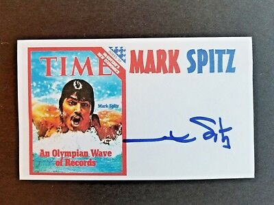 Mark Spitz Swimming Olympic Gold Summer Olympics Autographed 3X5 Index Card