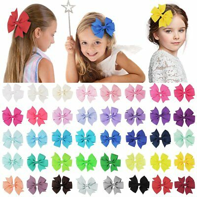 40Pcs Hair Bows Band Boutique Alligator Clip Grosgrain Ribbon For Girl Baby Kids