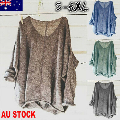 AU Women Oversized T Shirt Knitting Sweater Loose Blouse Pullover Plus Size Tops