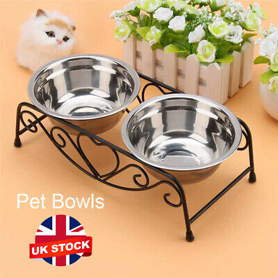 Double Pet Bowls Dish Dog Cat Stainless Steel Stand Feeder Food Water Durable