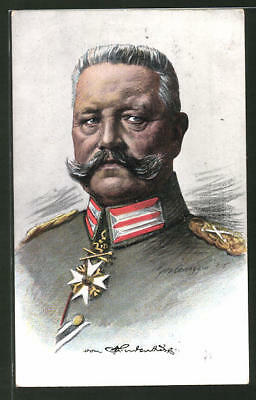 Künstler-AK Portait Paul von Hindenburg in Uniform 1916