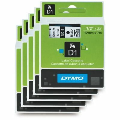 Pack of 5x DYMO D1 Label Tape 12mmx7mm Black On White 45013 GENUINE