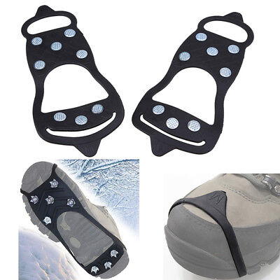 2x 8-Teeth Over Shoe Studded Snow Grips Ice Grips Anti Slip Snow Crampons Cleats
