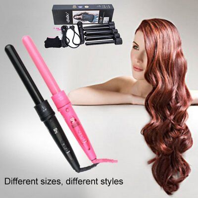 5 in 1 Hair Curling Iron Styling Wand Hair Curler Roller Machine Tong Glove Set