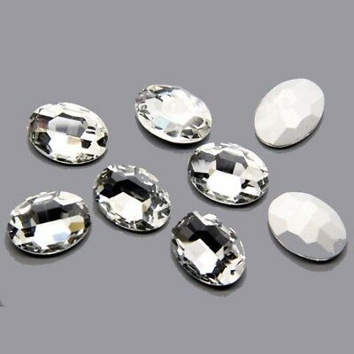 Wholesale 10/50pcs Faceted Crystal Glass Rhinestones Silver Bottom Oval Beads  F