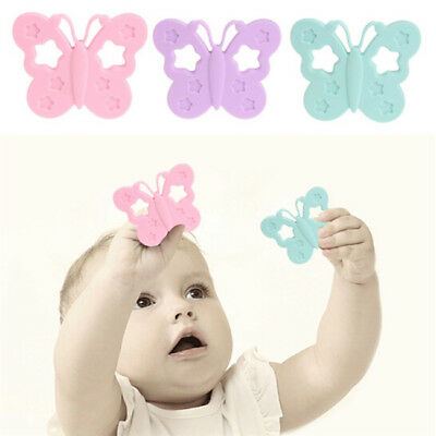 Safety Colors Silicone Butterfly Shape Newborn Baby Teether Toy BPA Free N7