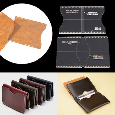2pcs Acrylic Clear Craft Pattern Template Tool For Leather Wallet Bag Craft ^*