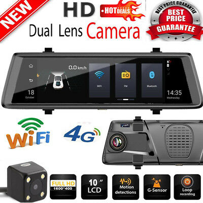 10'' 1080P WiFi Car DVR Dash Camera 2Lens 4G Rearview Mirror for Android/iPhone.