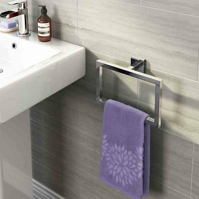 Modern Bathroom Square Towel Rack Brass Towel Ring Holder Chrome