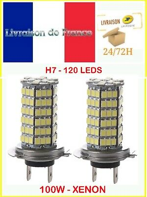 2 Ampoules H7 120 LED 100W SMD XENON Ultra BLANC Froid Phare 12V auto moto