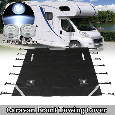 Breathable Caravan Front Towing Cover Chip Protector w/ LED Light Size:220x175cm