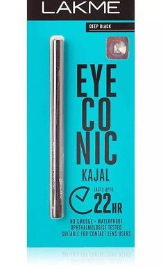 Lakme Eyeconic Kajal 0.35g Deep Black 22Hrs No Smudge Waterproof Long-Lasting