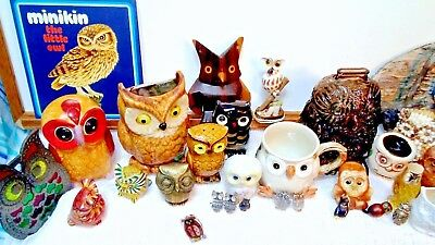 Huge Lot Vintage Collectable Owl Stuff - Jewelry Shells Brass Carvings Handmade