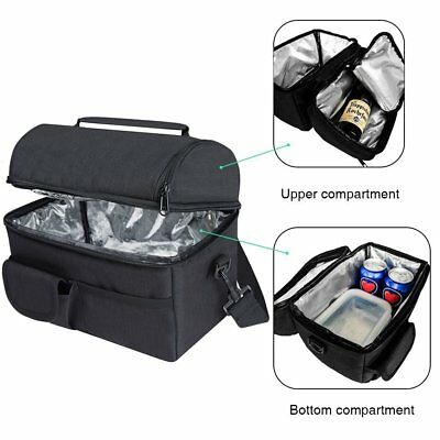 Insulated Lunch Bag Coolbag Work Picnic Adult Kids Food Storage Lunchbox Black
