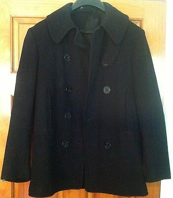 Vintage U.S. Navy Wool Peacoat, 8 Button, Neck Strap, WW II Era