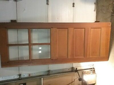 Antique Interior/Exterior Three Panel Wooden Door w/4 Glass Pieces