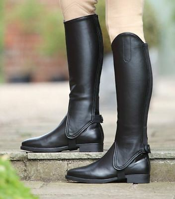 Equitack Equestrian Leather Show Gaiters Adults Horse Riding Half Chaps Black