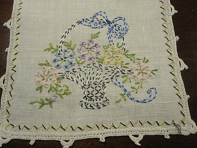 Pair Beautiful Vintage Antique Hand Embroidered Flower Baskets Linen Doilies Euc