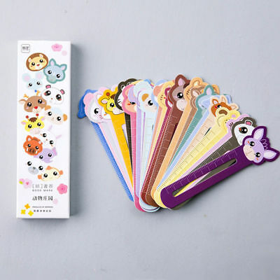 30Pcs Cartoon Animal Farm Bookmarks Paper Ruler Scale Book Labels Baby Gifts QP