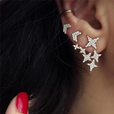 3pcs Luxury Crystal Star Wedding Earrings Set For Women Fashion Gold Color