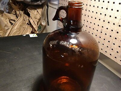 Glass Jug Bottle Amber Brown Glass 1 Gallon Large, Handle (no cap) Vintage