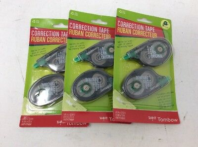 """Lot of 3 Tombow MONO Correction Tape Non-Refillable 1/6""""x394"""" White Tape 2 Pack"""