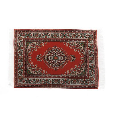 Miniature Woven Carpet Turkish Rug for Dollhouse Decoration Accessory Red