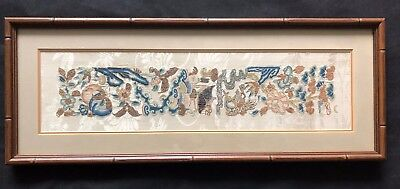Antique Chinese Textile Framed Silk Floral Hand Embroidery Panel on Silk 1800's