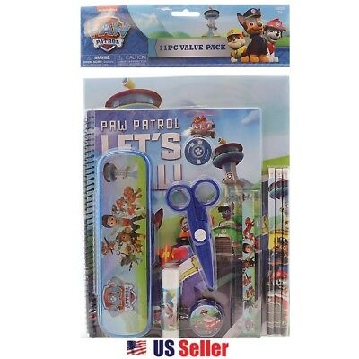 Paw Patrol 11pcs School Stationery Value Pack Gift Set with Plastic Pencil Case