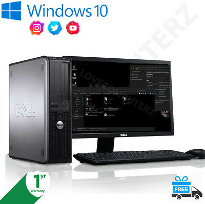 Full Dell/hp Dual Core/amd Desktop Tower Pc&tft Computer , Win 7/ 10 16Gb 3Tb
