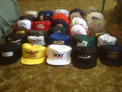 Vintage Lot Of 30 SnapBack Trucker Hats USA Made STP, Snapon, Pennzoil