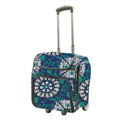 Couture Creations Craft Rolling Travel Trolley Tote Bag- Blue Damask