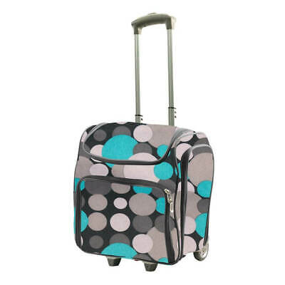 Couture Creations Craft Rolling Travel Trolley Tote Bag - Blue / Grey Spots