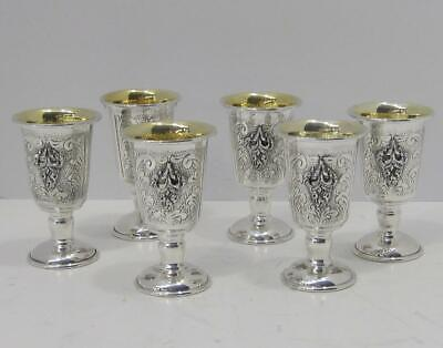 Fine 925 Sterling Silver Hand Chased Design & Appliques Set Of Six Whiskey Cups