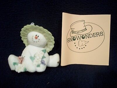 Sarah's Attic Snowonders May Snowman With Bonnet Bird Butterfly & Flowers #6404