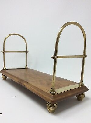 Fabulous Set of Antique Thomas Fry Brass and Wood Bookends L37 x H21 x W15 cms
