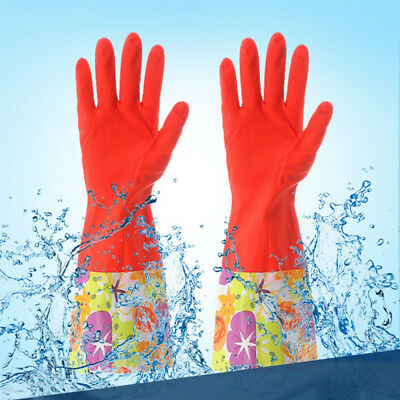 Household Kitchen Cleaning Dishwashing Warm Rubber Gloves with Lining for Women