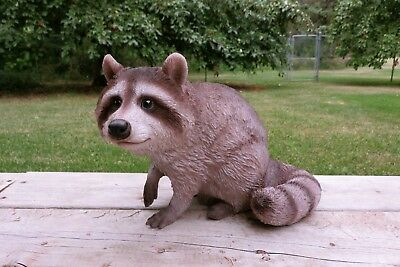 Raccoon Sitting Statue Figurine Country Farm Animal Decor Resin 13.39 in. New