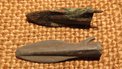 Scythian- Sarmatia Bronze 2 pcs.Old Original Ancient Barbed Arrowhea 7-4 BC #4