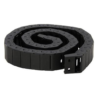15mm x 30mm Black Plastic Semi Closed Drag Chain Cable Carrier 1M