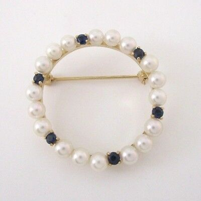 """14K Yellow Gold Salt Water Pearl Pin Brooch With 6 Sapphires 1"""" Diameter"""
