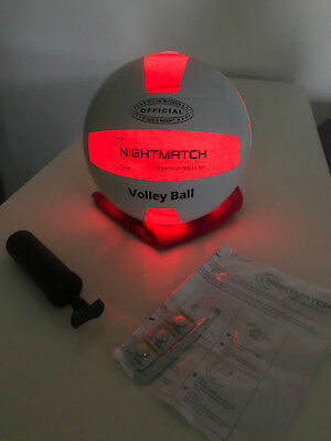 Original Nightmatch LEUCHT VOLLEYBALL LED LICHT +Ballpumpe +Ersatzbatterien NEUW