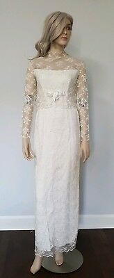 True Vintage 50's Ivory Long Sleeve Lace Sheath Wedding Bridal Gown Size 5 S/M