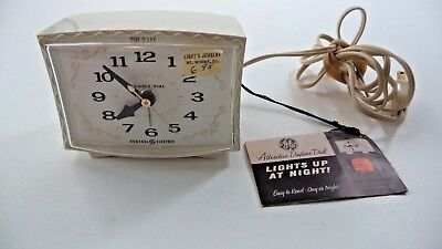 Vintage Working General Electric Lighted Dial Alarm Clock With Tag, Glows Orange