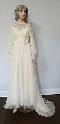 True Vintage 70's Cream Long Sleeve Lace Chiffon Modest Wedding Bridal Gown Boho