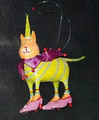 """New Patience Brewster KRINKLES Pets Cat With Shoes 4"""" Ornament"""