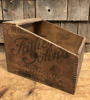 Antique FATHER JOHNS Medicine Lowell Mass Drug Country Store Wooden Box Crate
