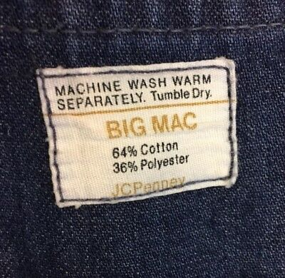 Vtg BIG MAC JcPenney Denim Coveralls Overalls Work Front Zip Size 44L