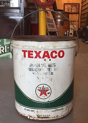 Vintage TEXACO Lubricant Gas Service Station 35 Lbs Can Bucket With Handle
